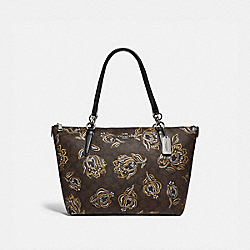 AVA TOTE IN SIGNATURE CANVAS WITH TULIP PRINT - F77845 - SV/CHESTNUT METALLIC