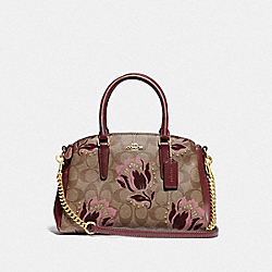 COACH F77850 - MINI SAGE CARRYALL IN SIGNATURE COATED CANVAS WITH DESERT TULIP PRINT FLOCKING IM/KHAKI PINK MULTI