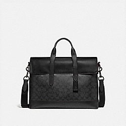 COACH F77858 - HAMILTON PORTFOLIO BRIEF IN SIGNATURE CANVAS BLACK/BLACK/OXBLOOD/BLACK COPPER FINISH