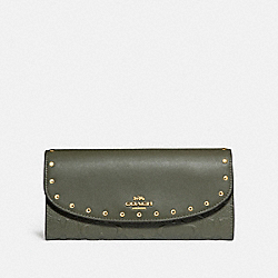 COACH F77866 Slim Envelope Wallet With Rivets MILITARY GREEN/GOLD