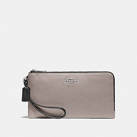 COACH F77869 DOUBLE ZIP WALLET IN COLORBLOCK GREY BIRCH MULTI/SILVER
