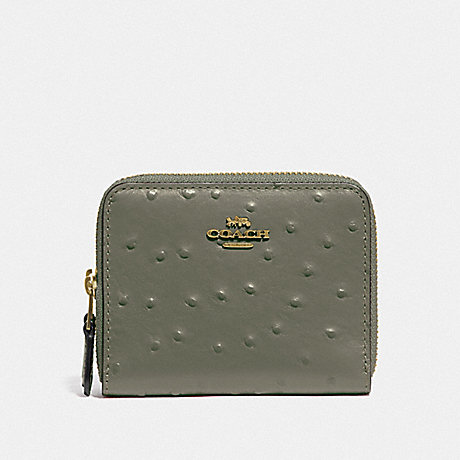 COACH F77875 SMALL DOUBLE ZIP AROUND WALLET MILITARY GREEN/GOLD