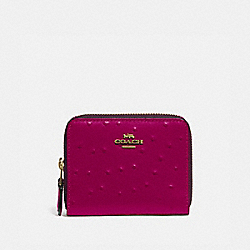 COACH F77875 Small Double Zip Around Wallet IM/DARK FUCHSIA