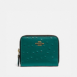 COACH F77875 Small Double Zip Around Wallet IM/VIRIDIAN
