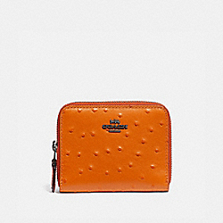 COACH F77875 - SMALL DOUBLE ZIP AROUND WALLET DARK ORANGE/BLACK ANTIQUE NICKEL