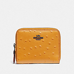 COACH F77875 Small Double Zip Around Wallet MUSTARD YELLOW/BLACK ANTIQUE NICKEL