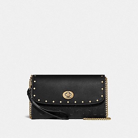 COACH F77878 CHAIN CROSSBODY IN SIGNATURE LEATHER WITH RIVETS BLACK/GOLD