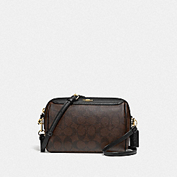 BENNETT CROSSBODY IN SIGNATURE CANVAS - F77879 - BROWN/BLACK/GOLD