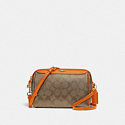 BENNETT CROSSBODY IN SIGNATURE CANVAS - F77879 - KHAKI/DARK ORANGE/SILVER