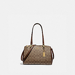 ETTA CARRYALL IN SIGNATURE CANVAS - F77881 - KHAKI/SADDLE 2/GOLD