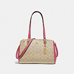 ETTA CARRYALL IN SIGNATURE CANVAS - F77881 - LIGHT KHAKI/ROUGE/GOLD