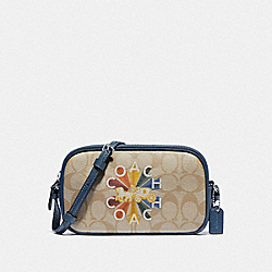 COACH F77882 Crossbody Pouch In Signature Canvas With Coach Radial Rainbow LIGHT KHAKI/DENIM MULTI/SILVER