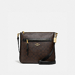 MAE FILE CROSSBODY IN SIGNATURE CANVAS - F77885 - BROWN/BLACK/GOLD