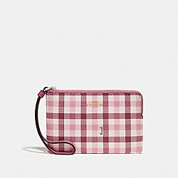 COACH F77890 - CORNER ZIP WRISTLET WITH GINGHAM PRINT BROWN PINK MULTI/GOLD