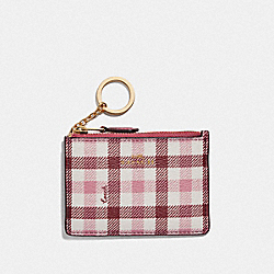 COACH F77898 - MINI SKINNY ID CASE WITH GINGHAM PRINT BROWN PINK MULTI/GOLD