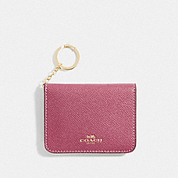 COACH F77901 Bifold Card Case In Colorblock ROUGE MULTI/GOLD