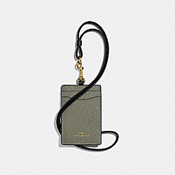 COACH F77903 - ID LANYARD IN COLORBLOCK MILITARY GREEN MUTLI/GOLD