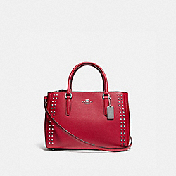 COACH F77910 - SURREY CARRYALL WITH RIVETS BRIGHT CARDINAL/SILVER