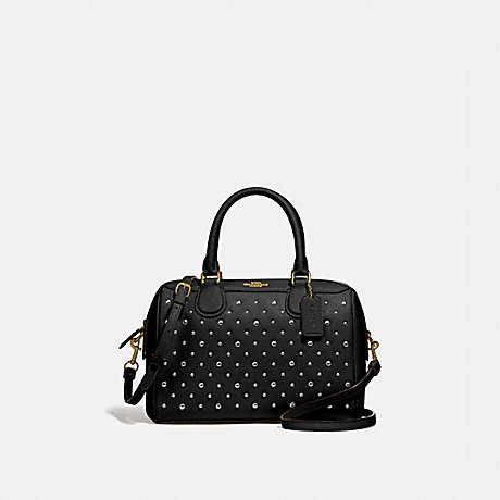 COACH F77913 MINI BENNETT SATCHEL WITH RIVETS BLACK/IMITATION GOLD