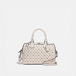 MINI BENNETT SATCHEL WITH RIVETS - F77913 - CHALK/SILVER