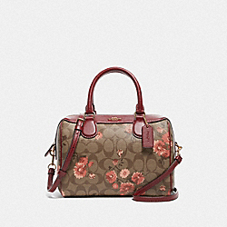 MINI BENNETT SATCHEL IN SIGNATURE CANVAS WITH PRAIRIE DAISY CLUSTER PRINT - F77926 - KHAKI CORAL MULTI/IMITATION GOLD