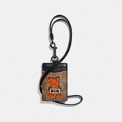 COACH F77927 Id Lanyard In Signature Canvas With Vandal Gummy TAN/BLACK ANTIQUE NICKEL