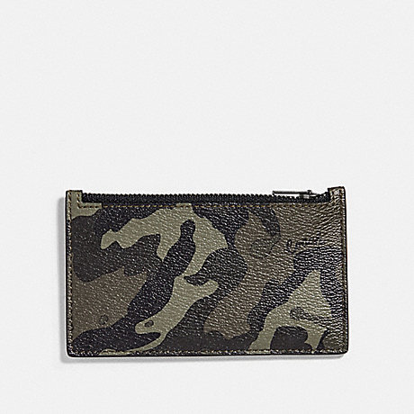 COACH F77930 ZIP CARD CASE WITH CAMO PRINT GREEN/BLACK ANTIQUE NICKEL