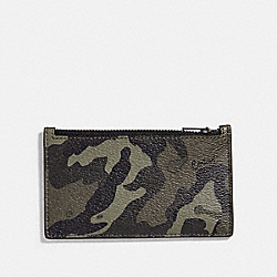 COACH F77930 - ZIP CARD CASE WITH CAMO PRINT GREEN/BLACK ANTIQUE NICKEL