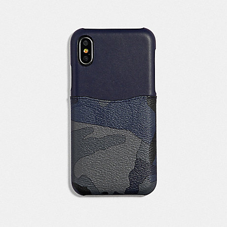 COACH F77932 IPHONE X/XS CASE IN SIGNATURE CANVAS WITH CAMO PRINT BLUE MULTI/BLACK ANTIQUE NICKEL