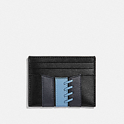 COACH F77934 Slim Card Case With Baseball Stitch BLACK/ MIDNIGHT NAVY/ WASHED BLUE/BLACK ANTIQUE NICKEL
