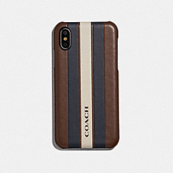 IPHONE X/XS CASE WITH VARSITY STRIPE - F77935 - SADDLE/MIDNIGHT NVY/CHALK/BLACK ANTIQUE NICKEL