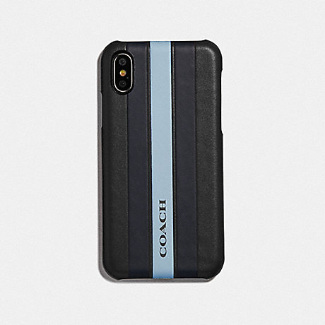 COACH F77935 IPHONE X/XS CASE WITH VARSITY STRIPE BLACK/ MIDNIGHT NAVY/ WASHED BLUE/BLACK ANTIQUE NICKEL