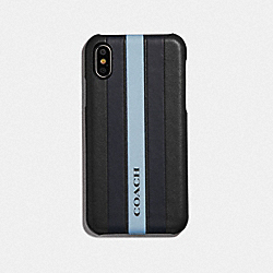 COACH F77935 - IPHONE X/XS CASE WITH VARSITY STRIPE BLACK/ MIDNIGHT NAVY/ WASHED BLUE/BLACK ANTIQUE NICKEL