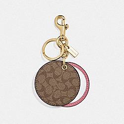 COACH F77961 - MIRROR BAG CHARM IN SIGNATURE CANVAS GD/KHAKI PINK