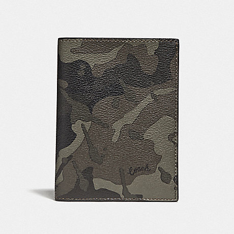 COACH F77977 PASSPORT CASE WITH CAMO PRINT GREEN/BLACK ANTIQUE NICKEL