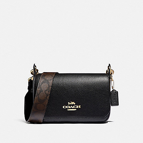 COACH F77979 SMALL JES MESSENGER WITH SIGNATURE CANVAS STRAP IM/BLACK
