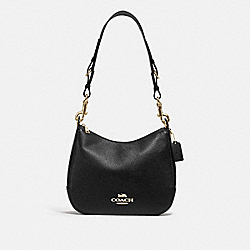 COACH F77980IMBLK - JES HOBO WITH SIGNATURE CANVAS STRAP IM/BLACK