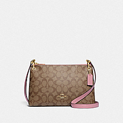 COACH F77981 Mia Crossbody In Blocked Signature Canvas IM/KHAKI PINK PETAL