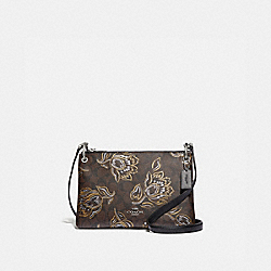 COACH F77982 Mia Crossbody In Signature Canvas With Tulip Print SV/CHESTNUT METALLIC