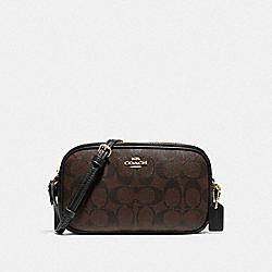 COACH F77996 Crossbody Pouch In Signature Canvas BROWN/BLACK/GOLD