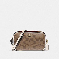 COACH F77996 - CROSSBODY POUCH IN SIGNATURE CANVAS KHAKI/CHALK/GOLD