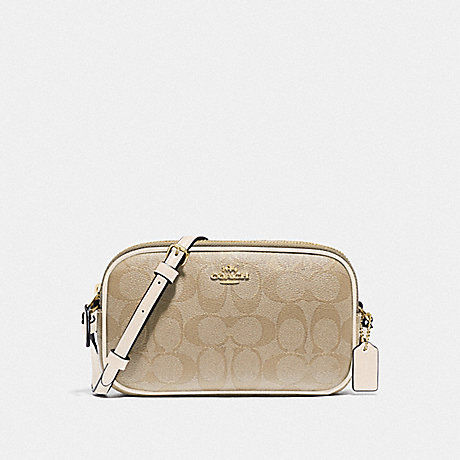 COACH F77996 CROSSBODY POUCH IN SIGNATURE CANVAS IM/LIGHT-KHAKI/CHALK