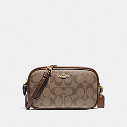 COACH F77996 Crossbody Pouch In Signature Canvas KHAKI/SADDLE 2/GOLD