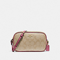 COACH F77996 Crossbody Pouch In Signature Canvas LIGHT KHAKI/ROUGE/GOLD
