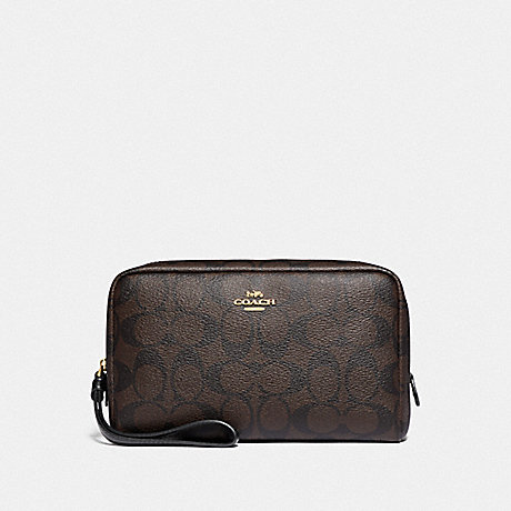 COACH F77997 BOXY COSMETIC CASE IN SIGNATURE CANVAS BROWN/BLACK/GOLD