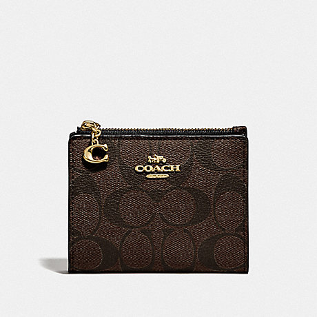 COACH F78002 SNAP CARD CASE IN SIGNATURE CANVAS BROWN/BLACK/GOLD
