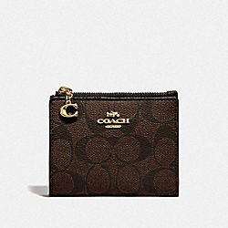 COACH F78002 - SNAP CARD CASE IN SIGNATURE CANVAS BROWN/BLACK/GOLD