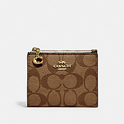 COACH F78002 Snap Card Case In Signature Canvas IM/KHAKI/CHALK