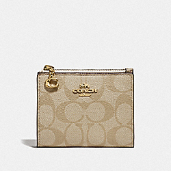 COACH F78002 Snap Card Case In Signature Canvas IM/LIGHT KHAKI CHALK