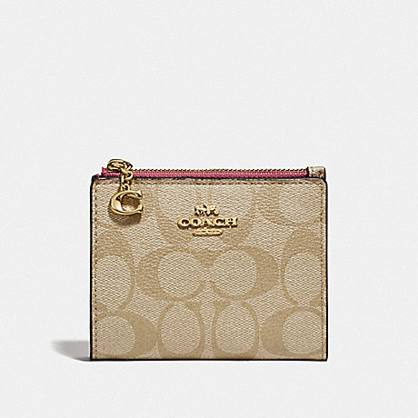 COACH F78002 SNAP CARD CASE IN SIGNATURE CANVAS LIGHT KHAKI/ROUGE/GOLD